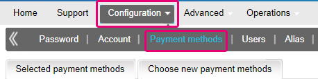 Select payment methods in the ingenico backoffice