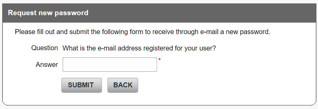 Security question to request new password