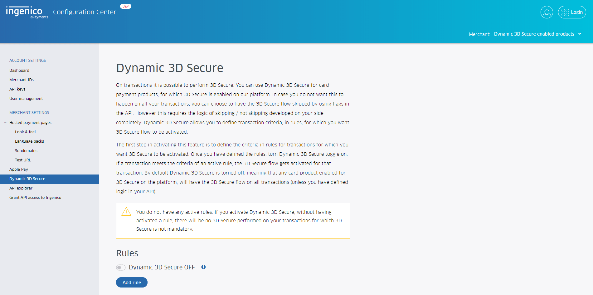 dynamic 3d secure - step 2 - open menu item